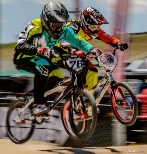 Trent Nelson | The Salt Lake Tribune Corey Salas and Zachary Vankammen in a tight race, competing in the 19-27 expert age class at the U.S. BMX National Series at Rad Canyon BMX in South Jordan, Saturday June 13, 2015.