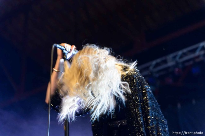 Trent Nelson | The Salt Lake Tribune Singer Taylor Momsen on stage as The Pretty Reckless performs at Saltair, Wednesday June 3, 2015.