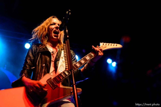 Trent Nelson | The Salt Lake Tribune Lzzy Hale on stage as Halestorm performs at Saltair, Wednesday June 3, 2015.