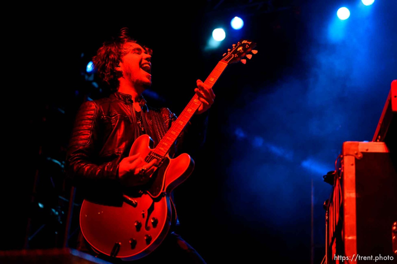 Trent Nelson | The Salt Lake Tribune Joe Hottinger on stage as Halestorm performs at Saltair, Wednesday June 3, 2015.