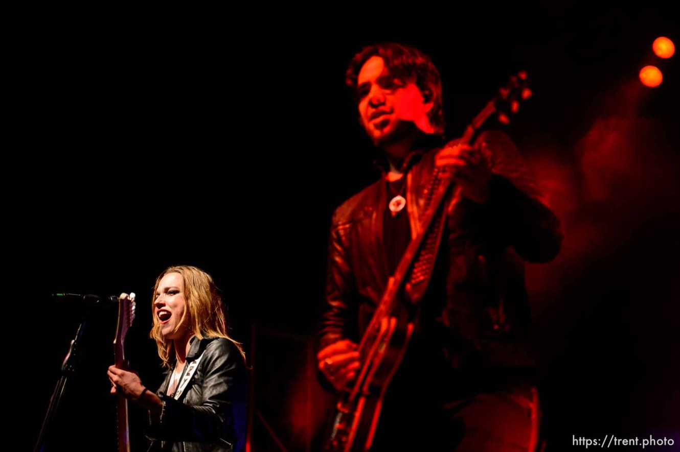 Trent Nelson | The Salt Lake Tribune Lzzy Hale and Joe Hottinger on stage as Halestorm performs at Saltair, Wednesday June 3, 2015.