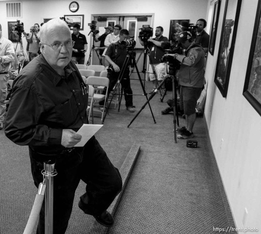 Trent Nelson | The Salt Lake Tribune Hildale Mayor Philip Barlow leaves a press conference after nine people were killed and five remained missing Tuesday morning, the day after an SUV and a van were washed off a road during a flash flood in this polygamous Utah-Arizona border community.