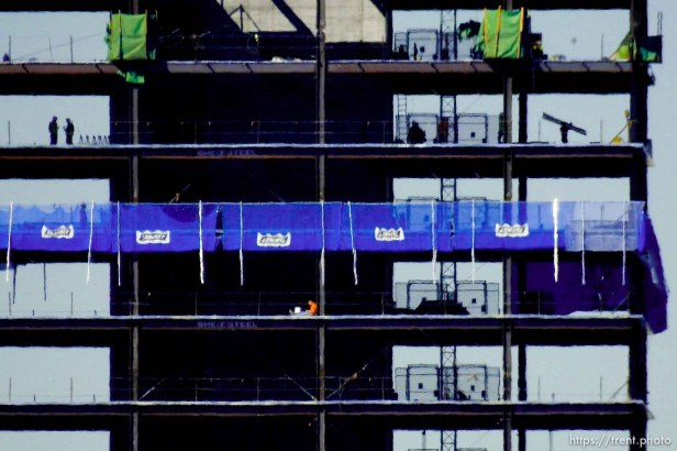 Trent Nelson   The Salt Lake Tribune Workers on the job building 111 Main, a new high-rise in Salt Lake City, Tuesday September 22, 2015.