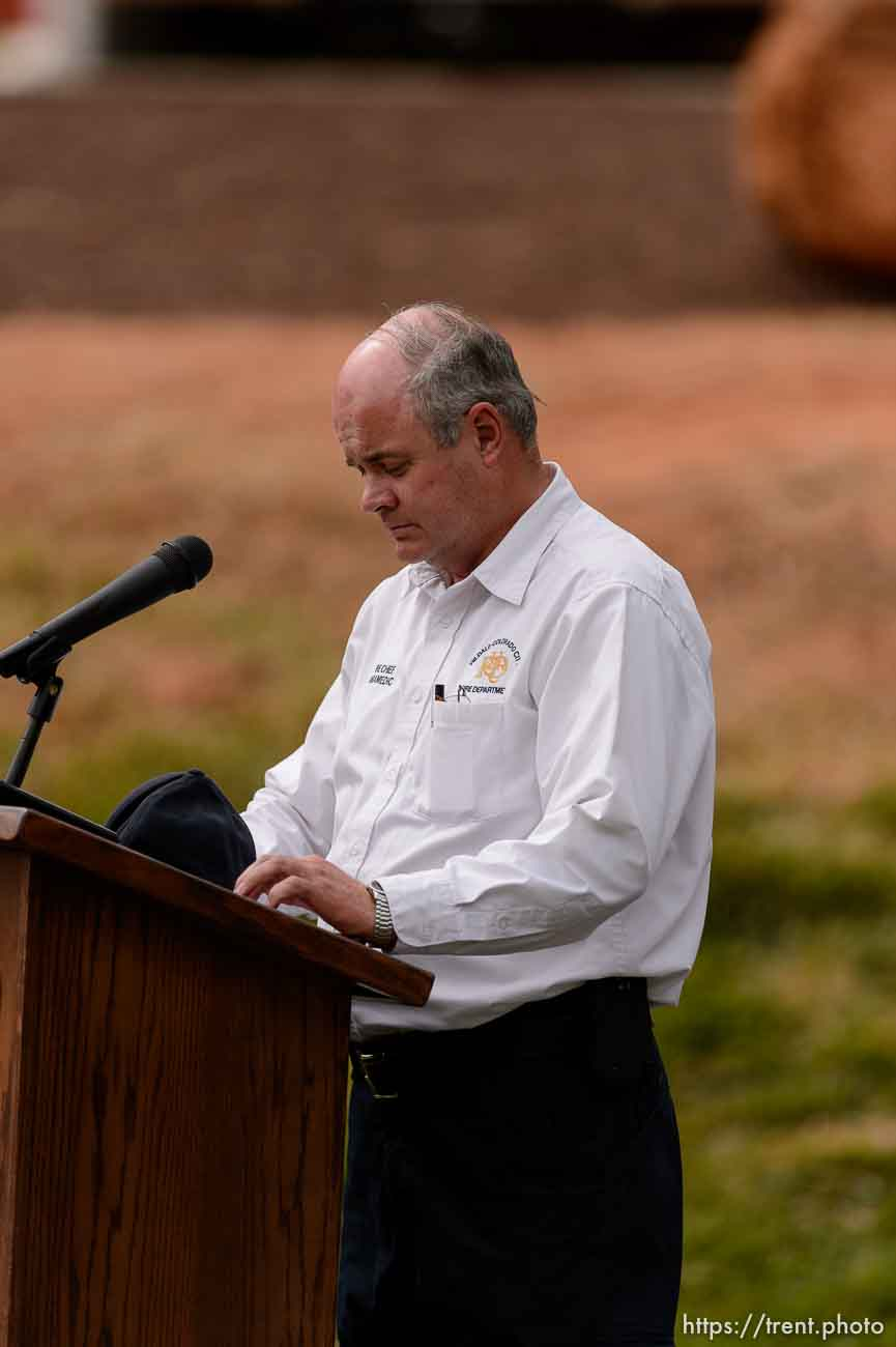 Trent Nelson | The Salt Lake Tribune HCCFD Fire Chief Kevin Barlow at a memorial for the 13 (and 1 still missing) victims of a September 14th flash flood. The memorial was held in Maxwell Park in Hildale, Saturday September 26, 2015.