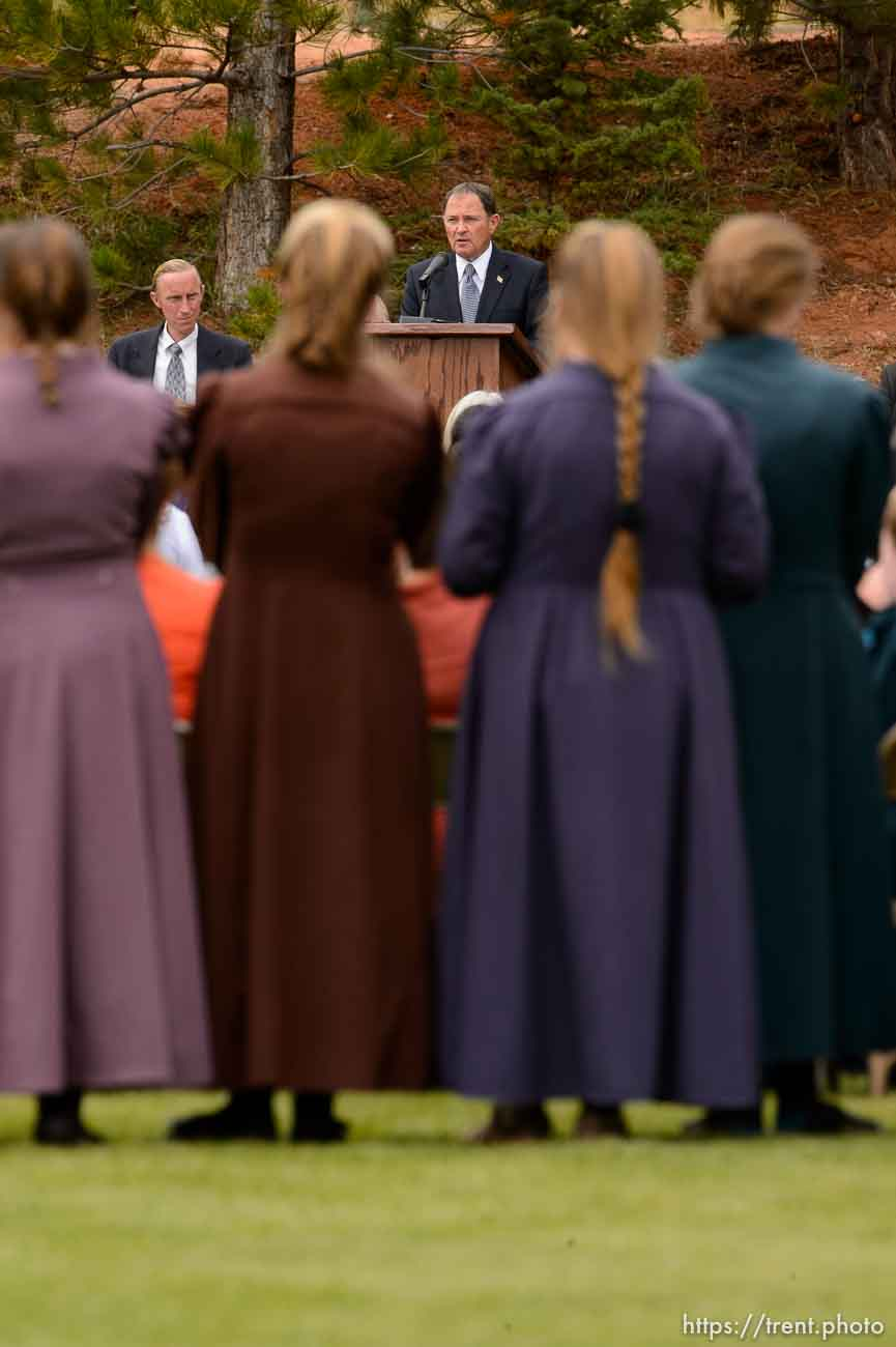 Trent Nelson | The Salt Lake Tribune Utah Governor Gary Herbert speaks at a memorial for the 13 (and 1 still missing) victims of a September 14th flash flood. The memorial was held in Maxwell Park in Hildale, Saturday September 26, 2015. Background - Joseph Allred,