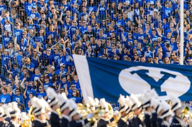Trent Nelson | The Salt Lake Tribune fans as BYU hosts East Carolina, college football at LaVell Edwards Stadium in Provo, Saturday October 10, 2015.