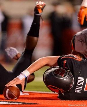 Trent Nelson | The Salt Lake Tribune Utah Utes quarterback Travis Wilson (7) punctuates a touchdown as the University of Utah hosts Oregon State, NCAA football at Rice-Eccles Stadium in Salt Lake City, Saturday October 31, 2015.