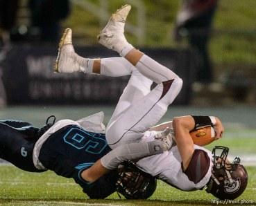 Trent Nelson | The Salt Lake Tribune Juan Diego's Cayden Salazar (16) sacks Morgan's Tucker Skinner (10) as Juan Diego defeats Morgan in the 3A high school football championship game at Weber State in Ogden, Saturday November 14, 2015.