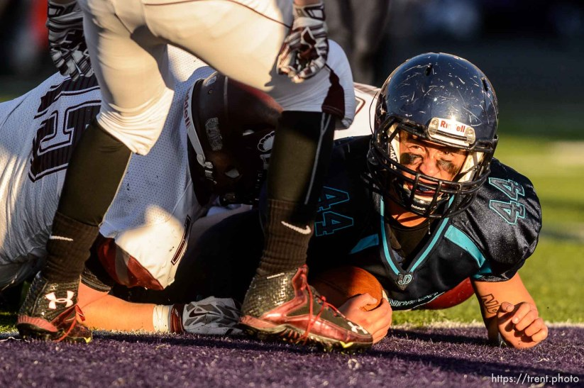 Trent Nelson | The Salt Lake Tribune Juan Diego's Tristen Tonozzi (44) scores a touchdown as Juan Diego defeats Morgan in the 3A high school football championship game at Weber State in Ogden, Saturday November 14, 2015.