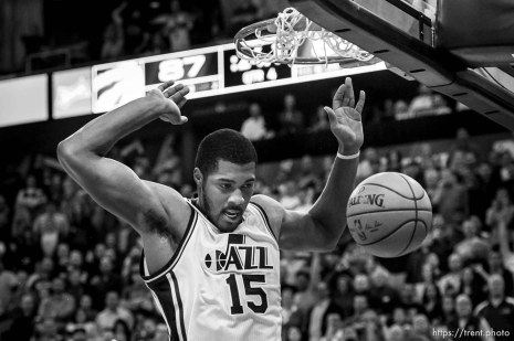 Trent Nelson | The Salt Lake Tribune Utah Jazz forward Derrick Favors (15) gives the Jazz a 4-point lead with less than 24 seconds to go as the Utah Jazz host the Toronto Raptors, NBA basketball at Vivint Smart Home Arena in Salt Lake City, Wednesday November 18, 2015.