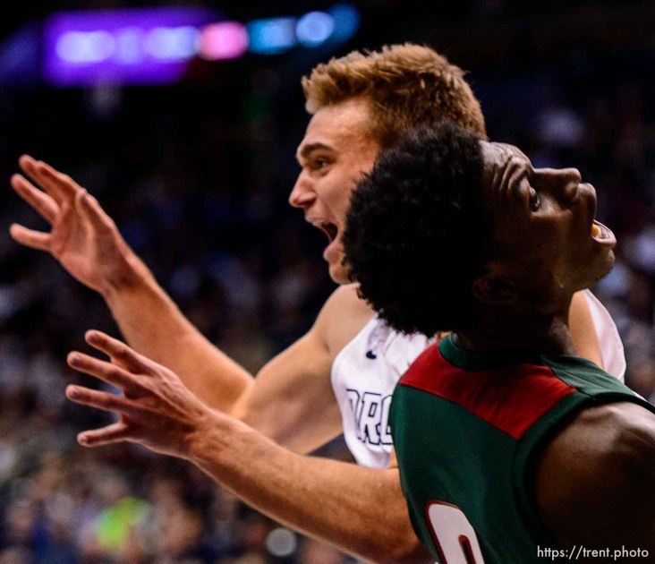 Trent Nelson | The Salt Lake Tribune Brigham Young Cougars guard Kyle Collinsworth (5), Mississippi Valley State Delta Devils forward Vacha Vaughn (0) as BYU hosts Mississippi Valley State, NCAA basketball at the Marriott Center in Provo, Wednesday November 25, 2015.