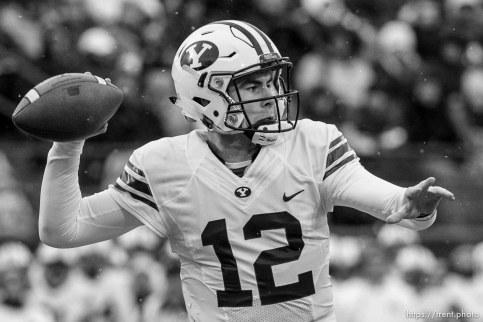 Trent Nelson | The Salt Lake Tribune Brigham Young Cougars quarterback Tanner Mangum (12) throws the ball as Utah State hosts BYU, NCAA football in Logan, Saturday November 28, 2015.