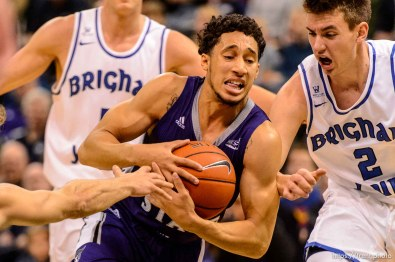 Trent Nelson | The Salt Lake Tribune Weber State's Jeremy Singling drives on BYU's Zac Seljaas, as BYU faces Weber State, NCAA basketball at Vivant Smart Home Arena in Salt Lake City, Saturday December 5, 2015.