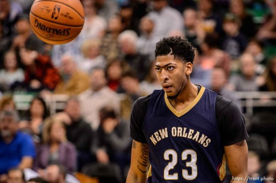 Trent Nelson | The Salt Lake Tribune New Orleans Pelicans forward Anthony Davis (23) looks to the ball as the Utah Jazz host the New Orleans Pelicans, NBA basketball in Salt Lake City, Wednesday December 16, 2015.