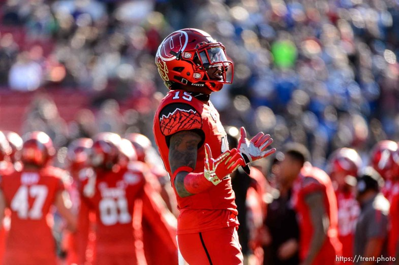 Trent Nelson | The Salt Lake Tribune Utah Utes defensive back Dominique Hatfield (15) celebrates a turnover as Utah faces BYU in the Royal Purple Las Vegas Bowl, NCAA football at Sam Boyd Stadium in Las Vegas, Saturday December 19, 2015.