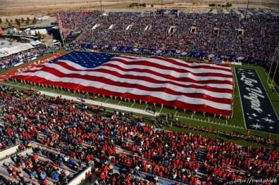 Trent Nelson | The Salt Lake Tribune large flag on field, as Utah faces BYU in the Royal Purple Las Vegas Bowl, NCAA football at Sam Boyd Stadium in Las Vegas, Saturday December 19, 2015.