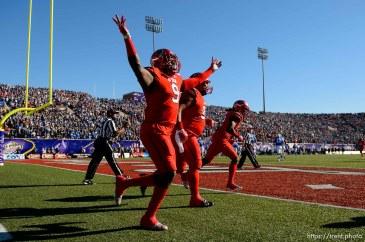 Trent Nelson | The Salt Lake Tribune Utah Utes defensive back Tevin Carter (9) celebrates an interception as Utah faces BYU in the Royal Purple Las Vegas Bowl, NCAA football at Sam Boyd Stadium in Las Vegas, Saturday December 19, 2015.