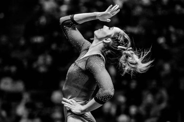 Trent Nelson | The Salt Lake Tribune MyKayla Skinner performs her floor routine as the University of Utah hosts Michigan, NCAA gymnastics at the Huntsman Center in Salt Lake City, Saturday January 7, 2017.