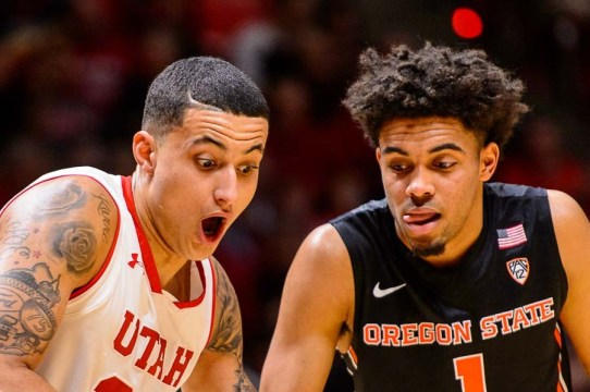 Trent Nelson | The Salt Lake Tribune Utah Utes forward Kyle Kuzma (35) and Oregon State Beavers guard Stephen Thompson Jr. (1) fight for position as the University of Utah hosts Oregon State, NCAA basketball at the Huntsman Center in Salt Lake City, Saturday January 28, 2017.