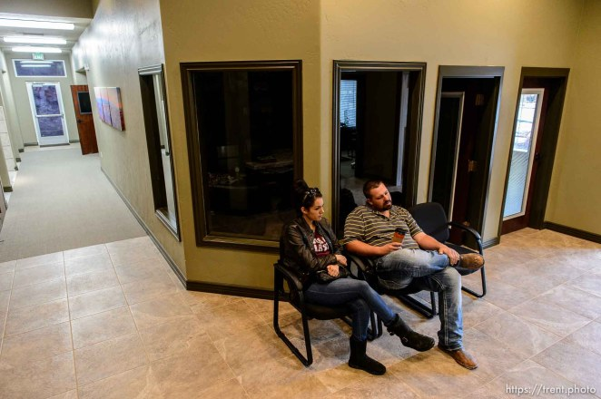 Trent Nelson | The Salt Lake Tribune Shawn and Alexandra Stubbs wait their turn to meet with the board of the United Effort Plan trust in hopes of getting a home for their family, in Hildale, Saturday February 11, 2017.
