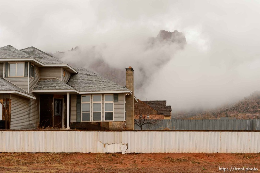 Trent Nelson | The Salt Lake Tribune fog and vermillion cliffs in Hildale, Saturday February 11, 2017.