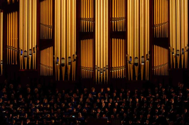 Trent Nelson | The Salt Lake Tribune Mormon Tabernacle Choir during the morning session of the 187th Annual General Conference at the Conference Center in Salt Lake City, Sunday April 2, 2017.