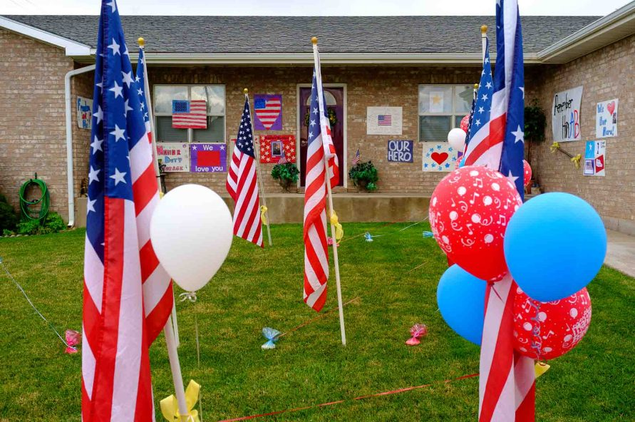 balloons, family home of fallen soldier Aaron Butler, who was killed last week in Afghanistan, Thursday August 24, 2017.