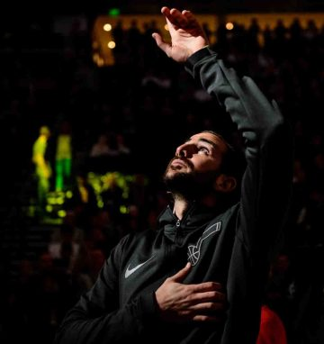 Utah Jazz guard Ricky Rubio (3) points up during player introductions jas the Utah Jazz host the Milwaukee Bucks, NBA basketball in Salt Lake City Saturday November 25, 2017.