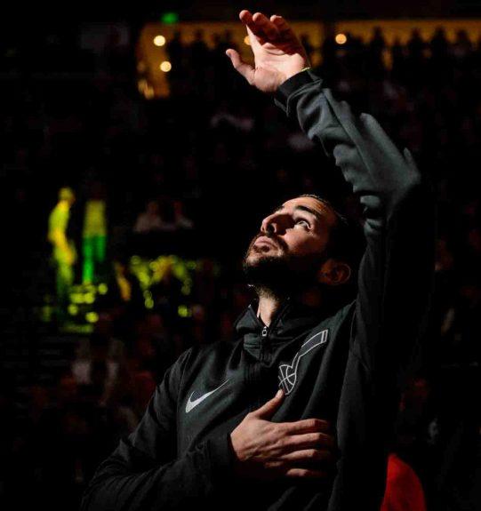 Utah Jazz guard Ricky Rubio (3) points up during player introductions jas the Utah Jazz host the Milwaukee Bucks, NBA basketball in Salt Lake City Saturday November 25, 2017.