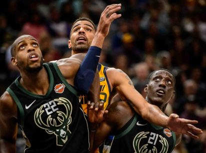 Milwaukee Bucks forward Khris Middleton (22), Utah Jazz forward Thabo Sefolosha (22), and Milwaukee Bucks guard Tony Snell (21) as the Utah Jazz host the Milwaukee Bucks, NBA basketball in Salt Lake City Saturday November 25, 2017.