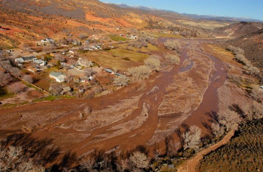 The town of Gunlock, stranded during the flood. Santa Clara river.