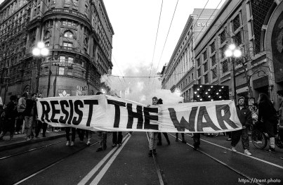 Marchers with banner at Gulf War protest