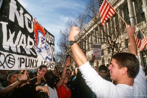 Anti-war protesters and war supporter clash at Gulf War protest.