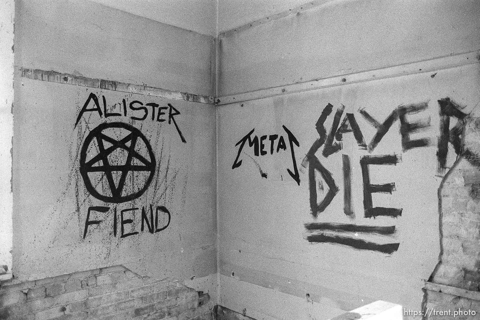 """Heavy Metal and """"satanic"""" graffiti in the Academy Building."""
