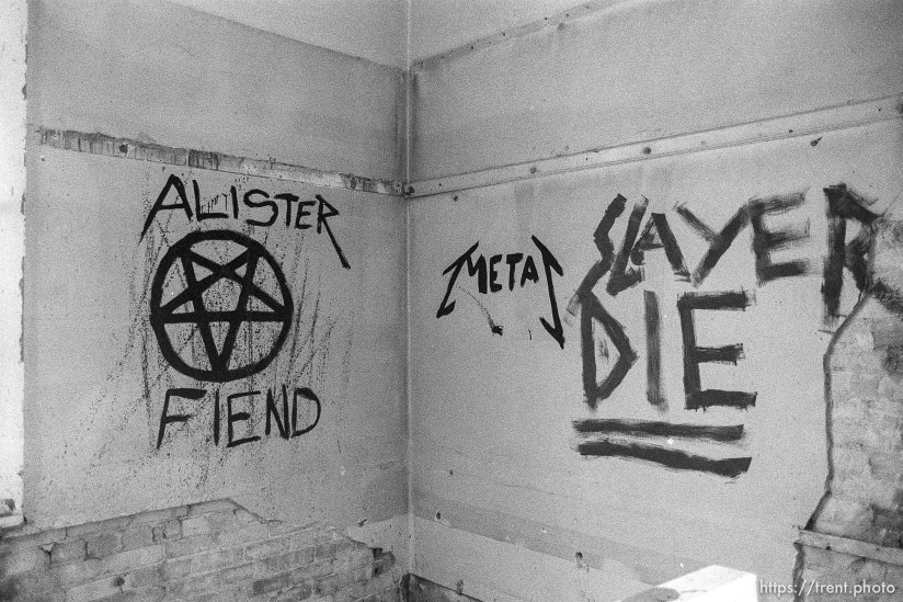 "Heavy Metal and ""satanic"" graffiti in the Academy Building."