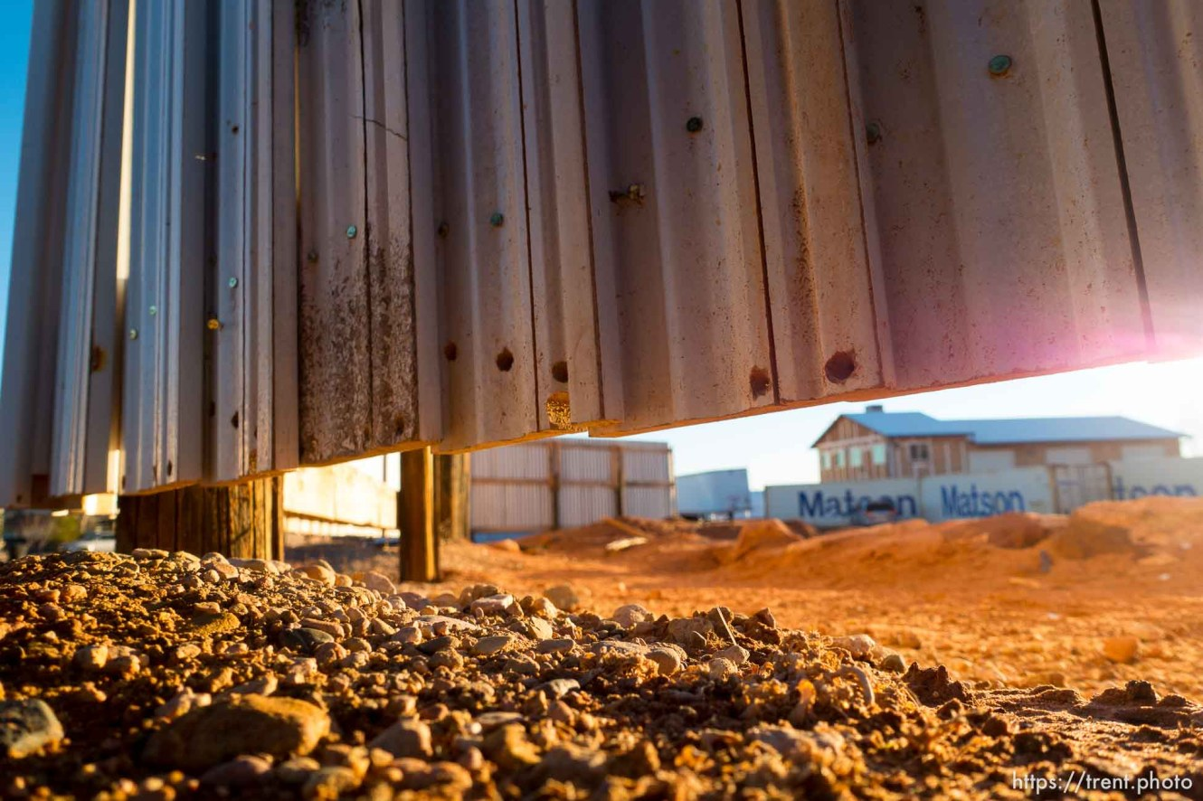 Trent Nelson | The Salt Lake Tribune wall around apparent new FLDS storehouse, Hildale, Wednesday January 14, 2015.
