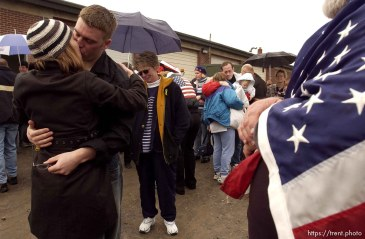 The 1457th Engineer Combat Battalion of the Utah Army National Guard deployed approximately 500 soldiers Thursday. A large number of family members and friends turned out for the emotional and somber farewell.; 02.13.2003, 1:31:26 PM