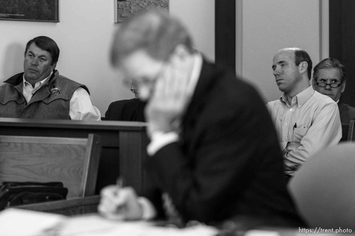 Trent Nelson | The Salt Lake Tribune Willie Jessop and Sam Steed at a court hearing concerning Utah's management of the United Effort Plan Friday, February 15, 2013 in Salt Lake City.