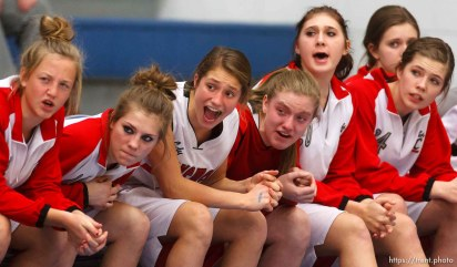 Spanish Fork players yell out encouragement as Fremont faces American Fork High School in the state championship girls basketball tournament Wednesday, February 20, 2013 in Taylorsville.
