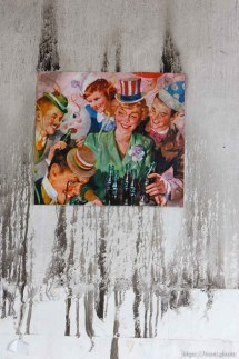 pictures of people partying on damaged wall. work to restore downtown Salt Lake City's historic Stratford Building, which was damaged in a summer fire in 2005.; 2.09.2006