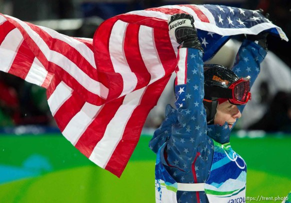Trent Nelson | The Salt Lake Tribune Hannah Kearney, USA, waves an American flag celebrating her gold medal win, Ladies' Moguls at the XXI Olympic Winter Games in Vancouver, Saturday, February 13, 2010.