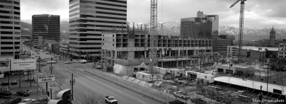 View from parking garage. Construction of new marriott hotel.