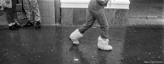 Woman's feet with furry boots