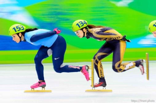 Ladies' 1500m, Short Track Speed Skating, at the XXI Olympic Winter Games in Vancouver, Saturday, February 20, 2010. heat 6 Lee Eun-Byul (140, kora), Hiroko Sadakane (japan, 134), Marina Georgieva-Nikolova (103), Allison Baver (153, USA), Aika Klein (120), Rozsa Darazs (122)