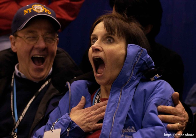 Sarah Hughes's parents John and Amy Hughes can't believe their daughter won the gold medal. Reaction as the medal ceremony takes place. Ladies Free Skating competition, Thursday evening at the Salt Lake Ice Center, 2002 Olympic Winter Games. 02.21.2002, 9:54:59 PM
