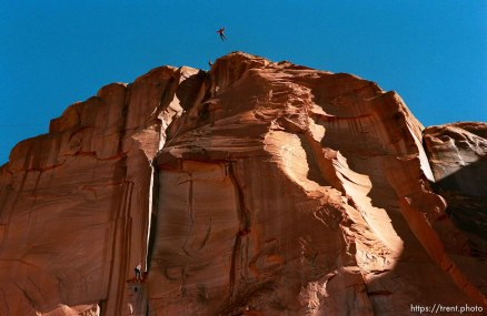 """BASE jump off """"Old Tombstone"""" in Kane Creek Canyon."""