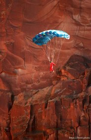 "BASE jump off ""Old Tombstone"" in Kane Creek Canyon."