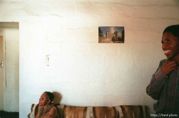 Mildred Mvula and Asher Mvula in their home.