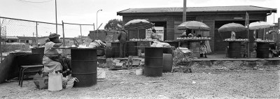 Marketplace street scene in the Langa township