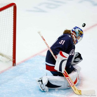 USA's Jessie Vetter makes a save. USA vs. Sweden, women's hockey, at the XXI Olympic Winter Games in Vancouver, Monday, February 22, 2010.